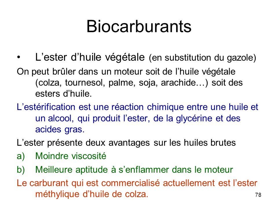 78 Biocarburants Lester dhuile végétale (en substitution du gazole) On peut brûler dans un moteur soit de lhuile végétale (colza, tournesol, palme, so