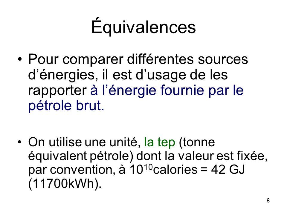 8 Équivalences Pour comparer différentes sources dénergies, il est dusage de les rapporter à lénergie fournie par le pétrole brut. On utilise une unit