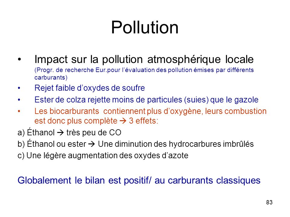 83 Pollution Impact sur la pollution atmosphérique locale (Progr.