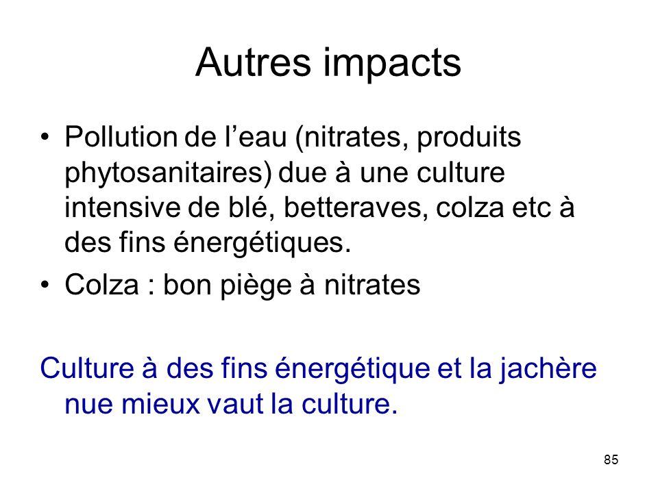85 Autres impacts Pollution de leau (nitrates, produits phytosanitaires) due à une culture intensive de blé, betteraves, colza etc à des fins énergéti