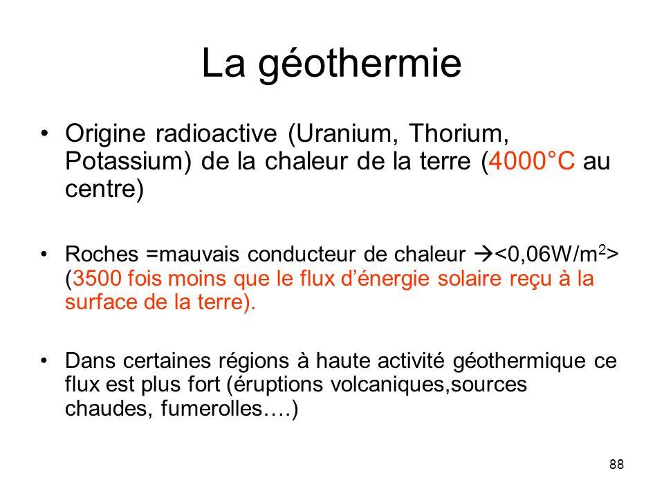 88 La géothermie Origine radioactive (Uranium, Thorium, Potassium) de la chaleur de la terre (4000°C au centre) Roches =mauvais conducteur de chaleur