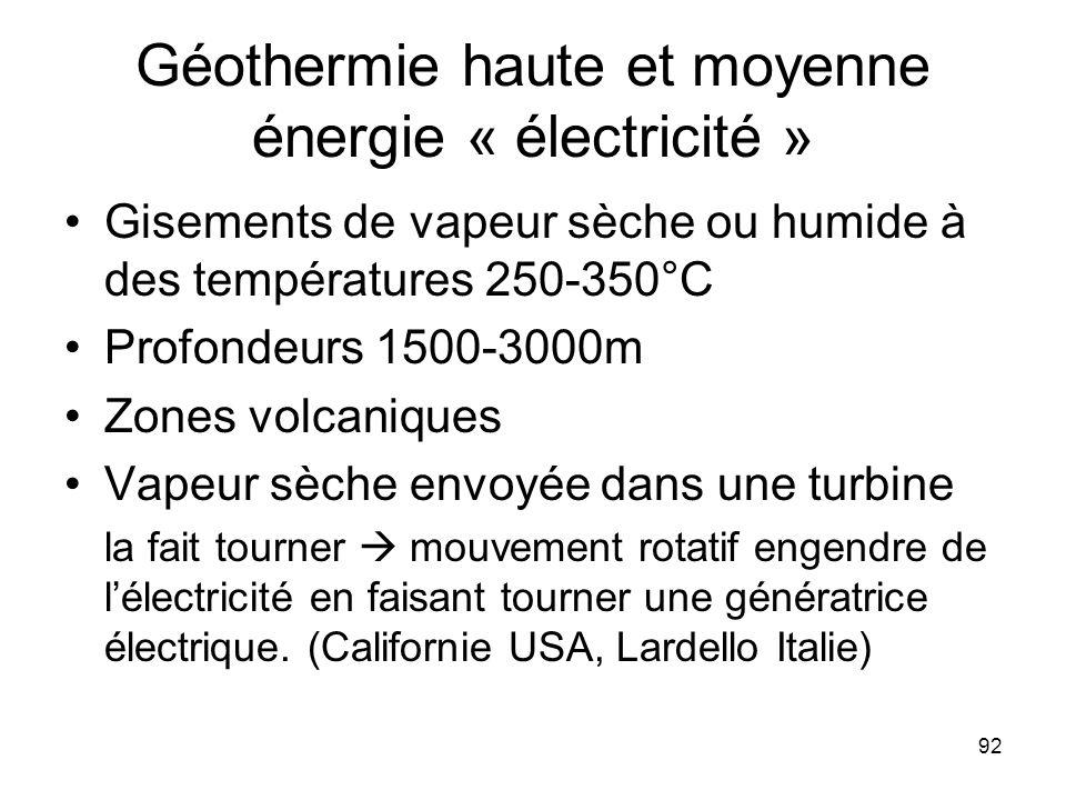 92 Géothermie haute et moyenne énergie « électricité » Gisements de vapeur sèche ou humide à des températures 250-350°C Profondeurs 1500-3000m Zones v