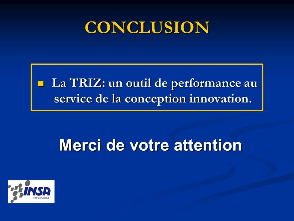 CONCLUSION La TRIZ: un outil de performance au service de la conception innovation. La TRIZ: un outil de performance au service de la conception innov