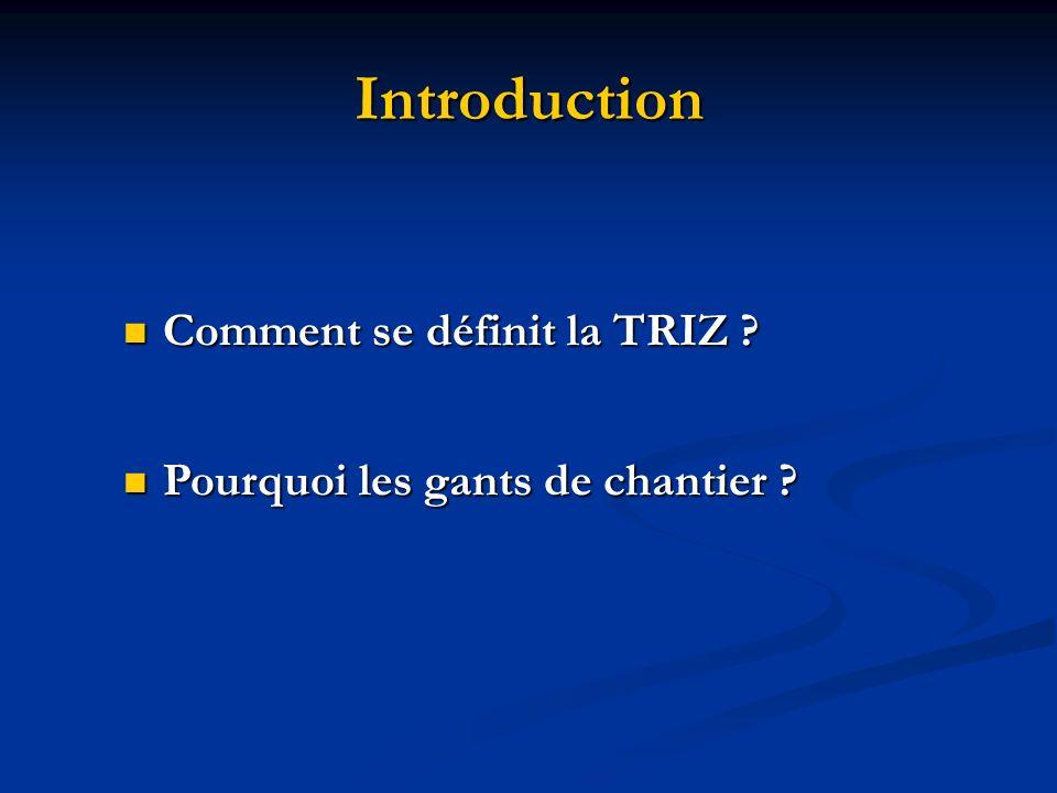 Introduction Comment se définit la TRIZ ? Comment se définit la TRIZ ? Pourquoi les gants de chantier ? Pourquoi les gants de chantier ?