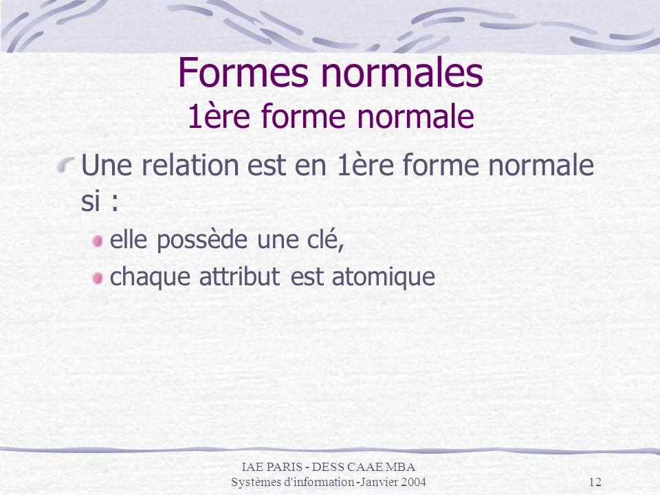 IAE PARIS - DESS CAAE MBA Systèmes d'information -Janvier 200412 Formes normales 1ère forme normale Une relation est en 1ère forme normale si : elle p