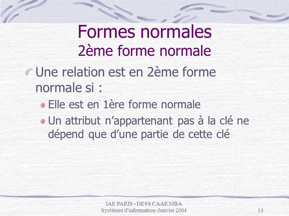 IAE PARIS - DESS CAAE MBA Systèmes d'information -Janvier 200413 Formes normales 2ème forme normale Une relation est en 2ème forme normale si : Elle e