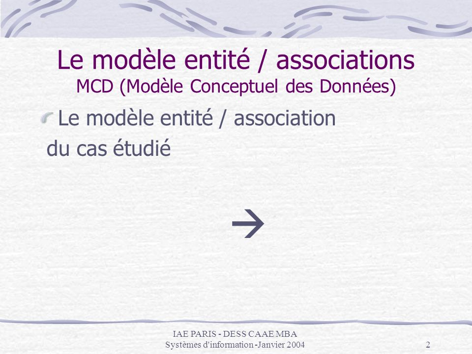 IAE PARIS - DESS CAAE MBA Systèmes d'information -Janvier 20042 Le modèle entité / associations MCD (Modèle Conceptuel des Données) Le modèle entité /