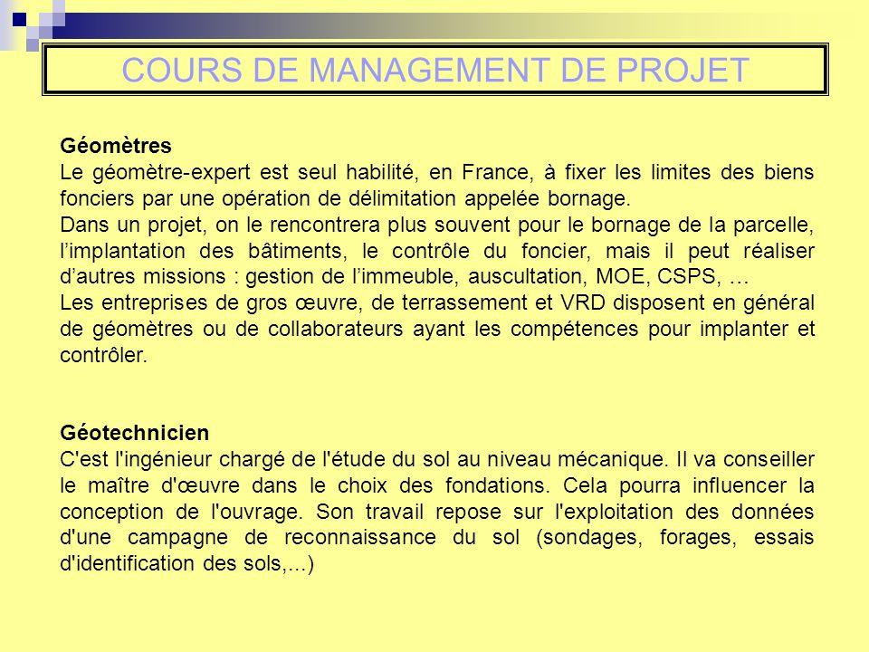 COURS DE MANAGEMENT DE PROJET Géomètres Le géomètre-expert est seul habilité, en France, à fixer les limites des biens fonciers par une opération de d