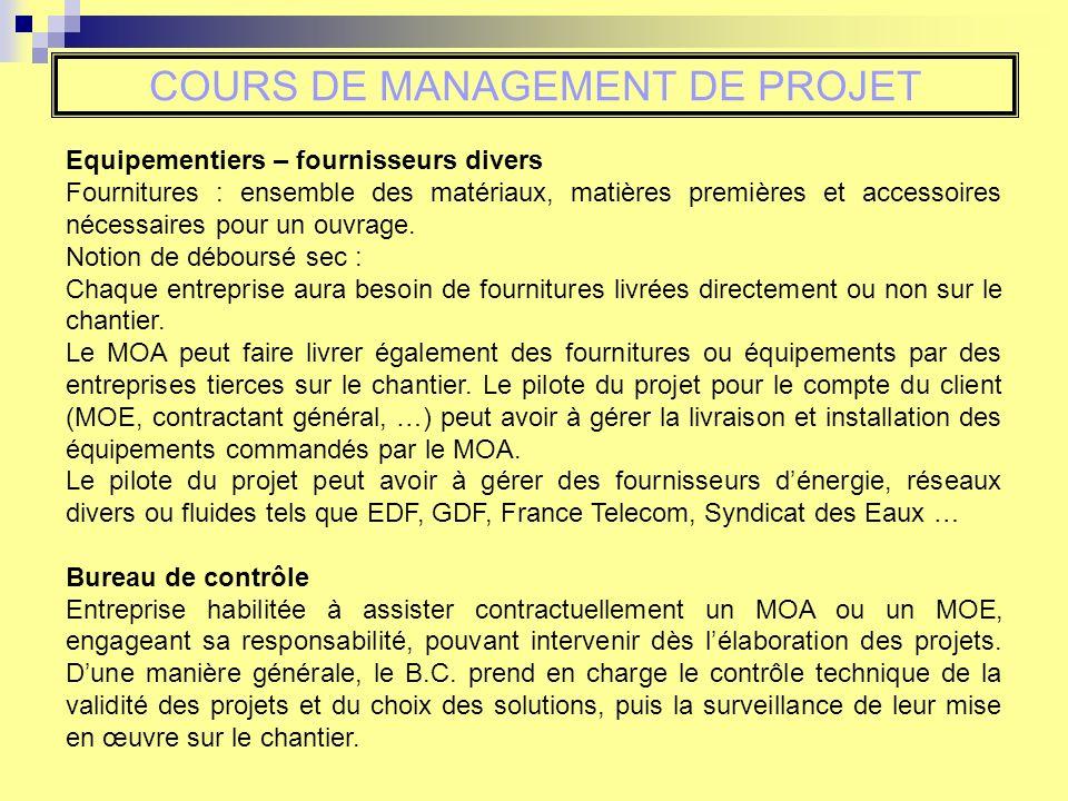 COURS DE MANAGEMENT DE PROJET Equipementiers – fournisseurs divers Fournitures : ensemble des matériaux, matières premières et accessoires nécessaires