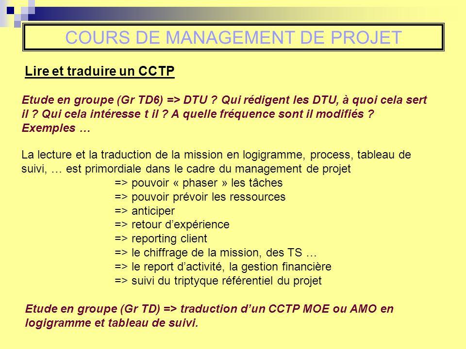Lire et traduire un CCTP COURS DE MANAGEMENT DE PROJET Etude en groupe (Gr TD6) => DTU ? Qui rédigent les DTU, à quoi cela sert il ? Qui cela intéress