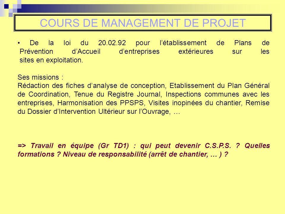 COURS DE MANAGEMENT DE PROJET Le but est de bien comprendre le CCTP, la liste des livrables, la façon de travailler du MOA, … avant de répondre e tdadapter la mission.
