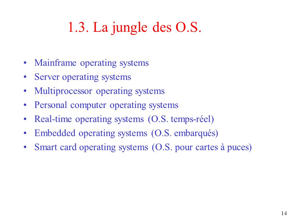 14 1.3. La jungle des O.S. Mainframe operating systems Server operating systems Multiprocessor operating systems Personal computer operating systems R