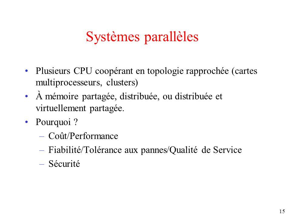15 Systèmes parallèles Plusieurs CPU coopérant en topologie rapprochée (cartes multiprocesseurs, clusters) À mémoire partagée, distribuée, ou distribu