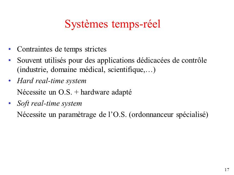 17 Systèmes temps-réel Contraintes de temps strictes Souvent utilisés pour des applications dédicacées de contrôle (industrie, domaine médical, scient