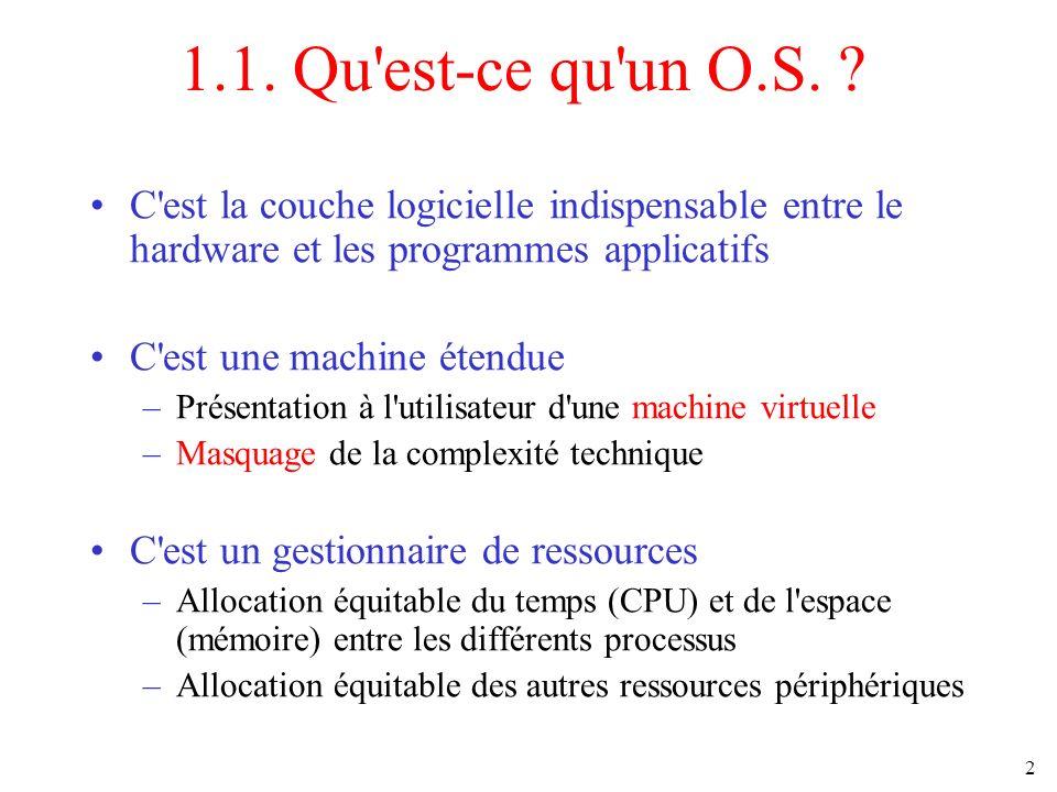 2 1.1. Qu'est-ce qu'un O.S. ? C'est la couche logicielle indispensable entre le hardware et les programmes applicatifs C'est une machine étendue –Prés