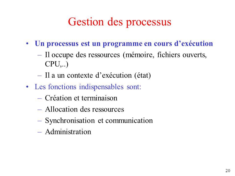 20 Gestion des processus Un processus est un programme en cours dexécution –Il occupe des ressources (mémoire, fichiers ouverts, CPU,..) –Il a un cont