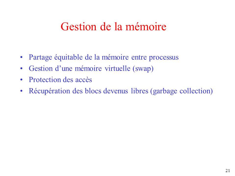 21 Gestion de la mémoire Partage équitable de la mémoire entre processus Gestion dune mémoire virtuelle (swap) Protection des accès Récupération des b