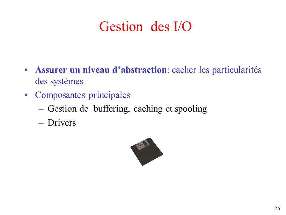 26 Gestion des I/O Assurer un niveau dabstraction: cacher les particularités des systèmes Composantes principales –Gestion de buffering, caching et sp