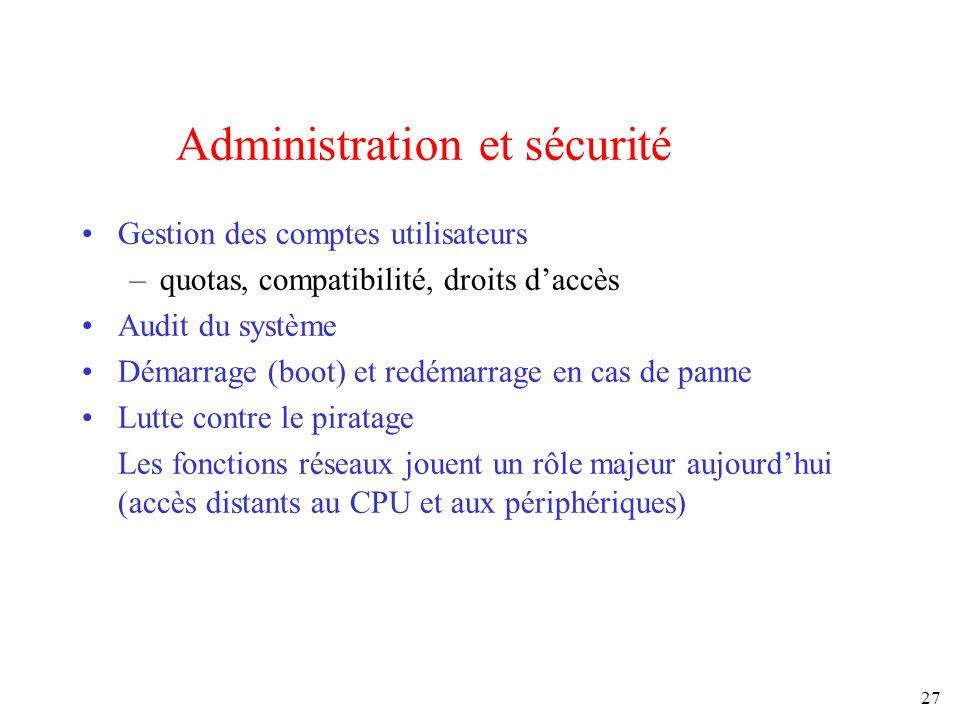 27 Administration et sécurité Gestion des comptes utilisateurs –quotas, compatibilité, droits daccès Audit du système Démarrage (boot) et redémarrage