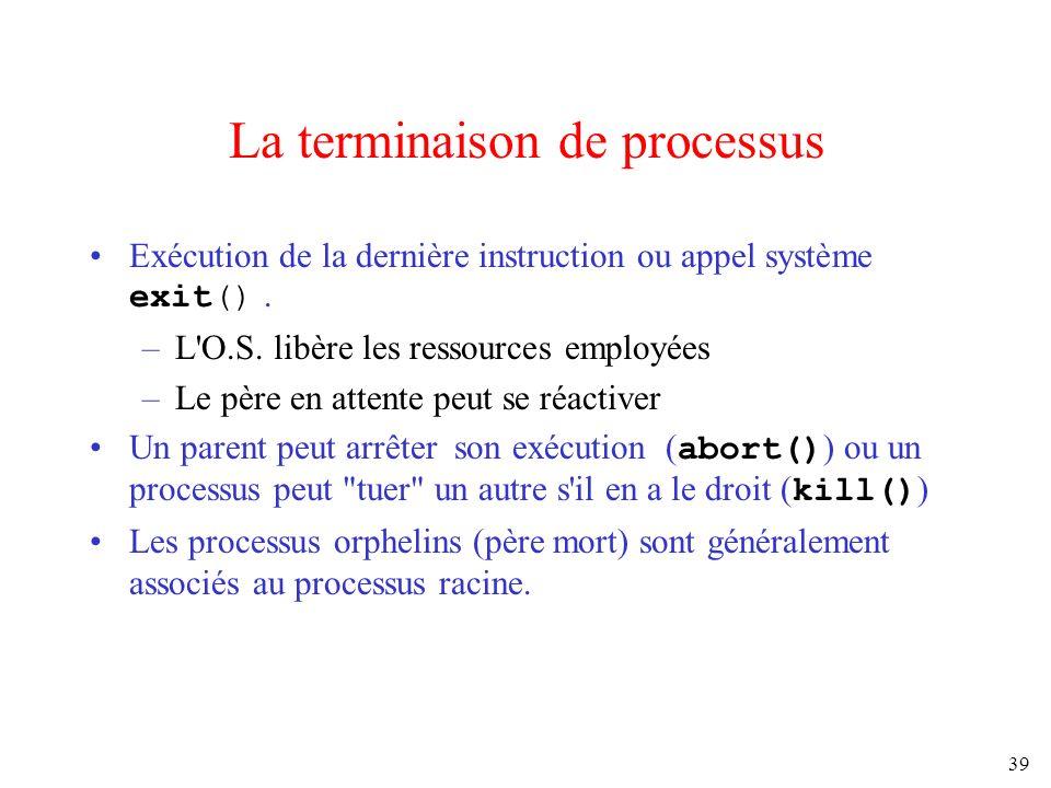 39 La terminaison de processus Exécution de la dernière instruction ou appel système exit(). –L'O.S. libère les ressources employées –Le père en atten