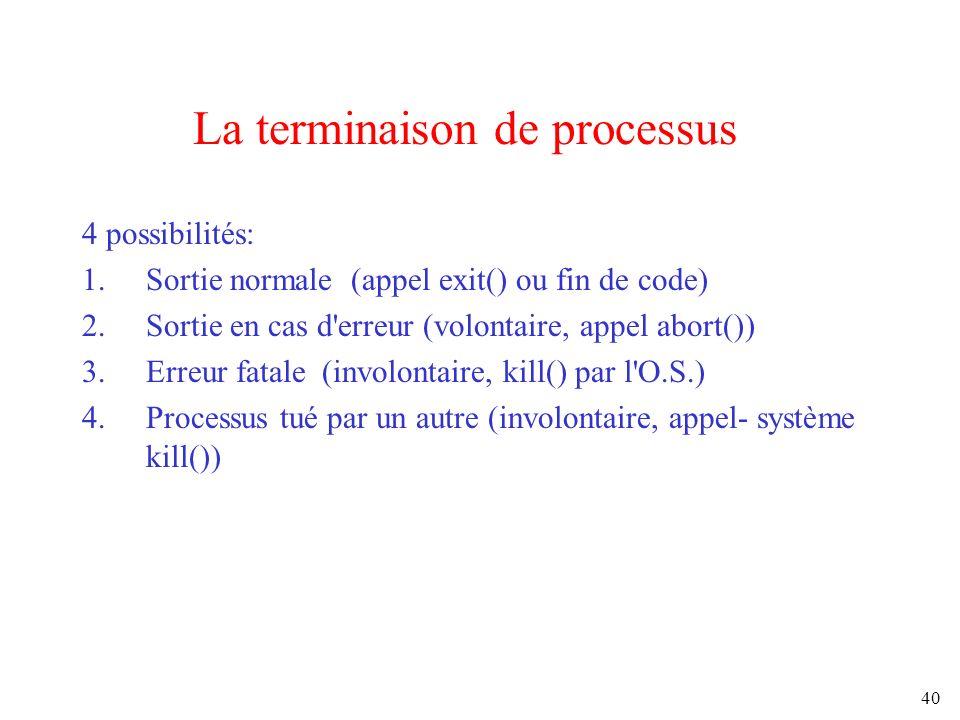 40 La terminaison de processus 4 possibilités: 1.Sortie normale (appel exit() ou fin de code) 2.Sortie en cas d'erreur (volontaire, appel abort()) 3.E