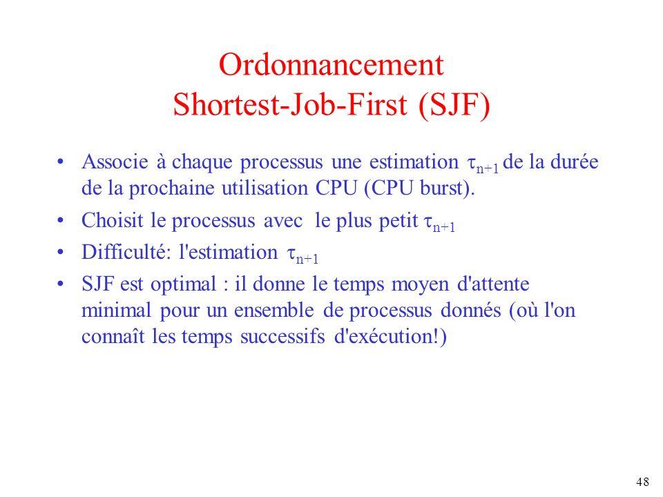 48 Ordonnancement Shortest-Job-First (SJF) Associe à chaque processus une estimation n+1 de la durée de la prochaine utilisation CPU (CPU burst). Choi