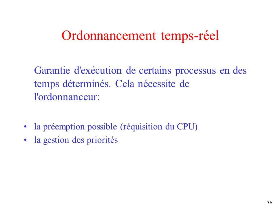56 Ordonnancement temps-réel Garantie d'exécution de certains processus en des temps déterminés. Cela nécessite de l'ordonnanceur: la préemption possi