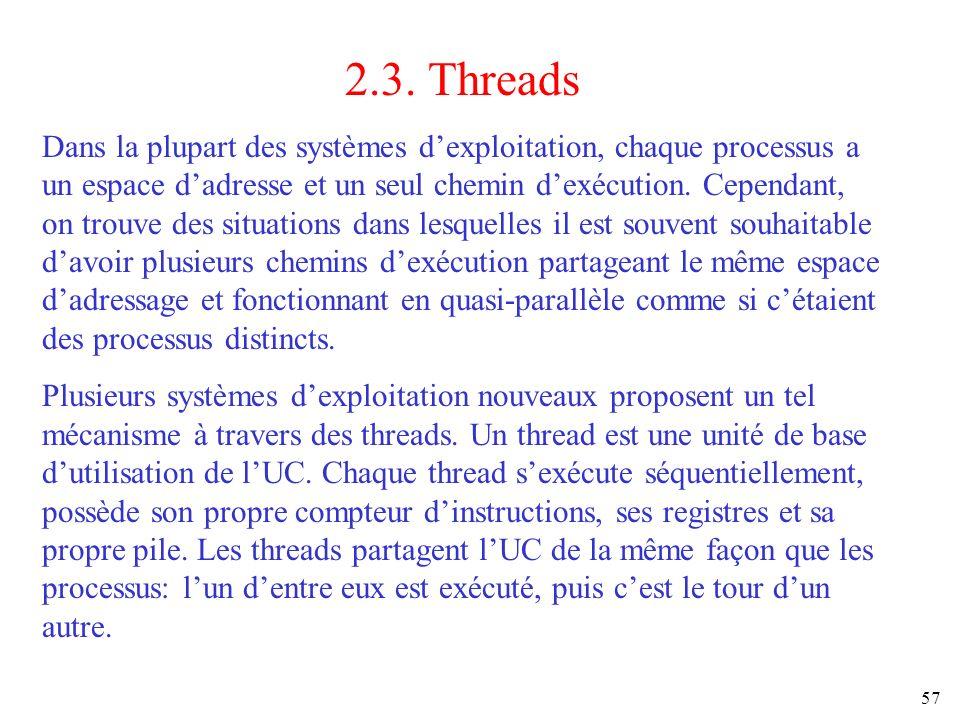 57 2.3. Threads Dans la plupart des systèmes dexploitation, chaque processus a un espace dadresse et un seul chemin dexécution. Cependant, on trouve d