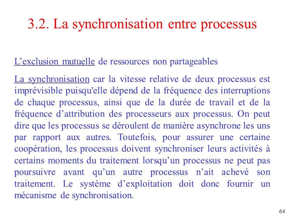 64 3.2. La synchronisation entre processus Lexclusion mutuelle de ressources non partageables La synchronisation car la vitesse relative de deux proce