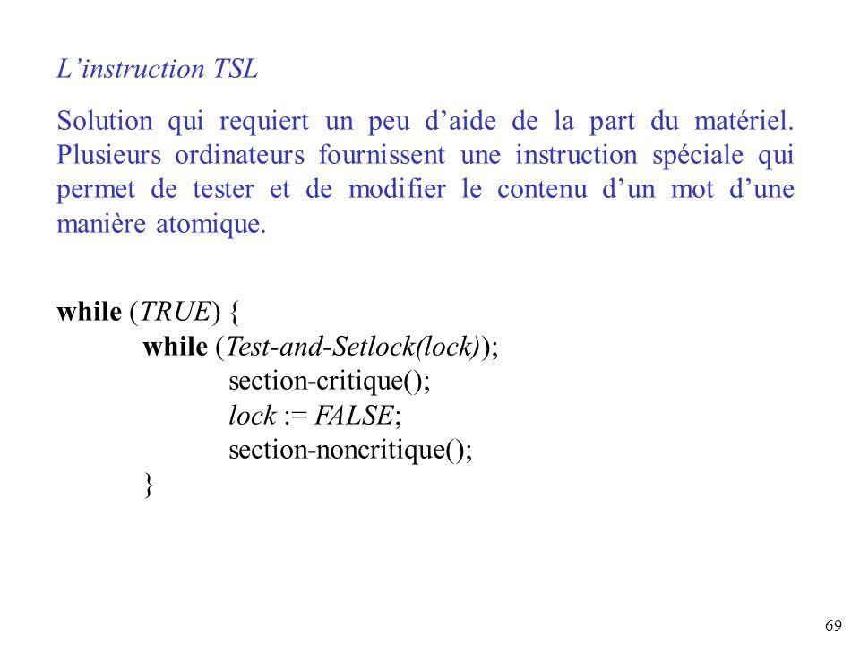 69 Linstruction TSL Solution qui requiert un peu daide de la part du matériel. Plusieurs ordinateurs fournissent une instruction spéciale qui permet d