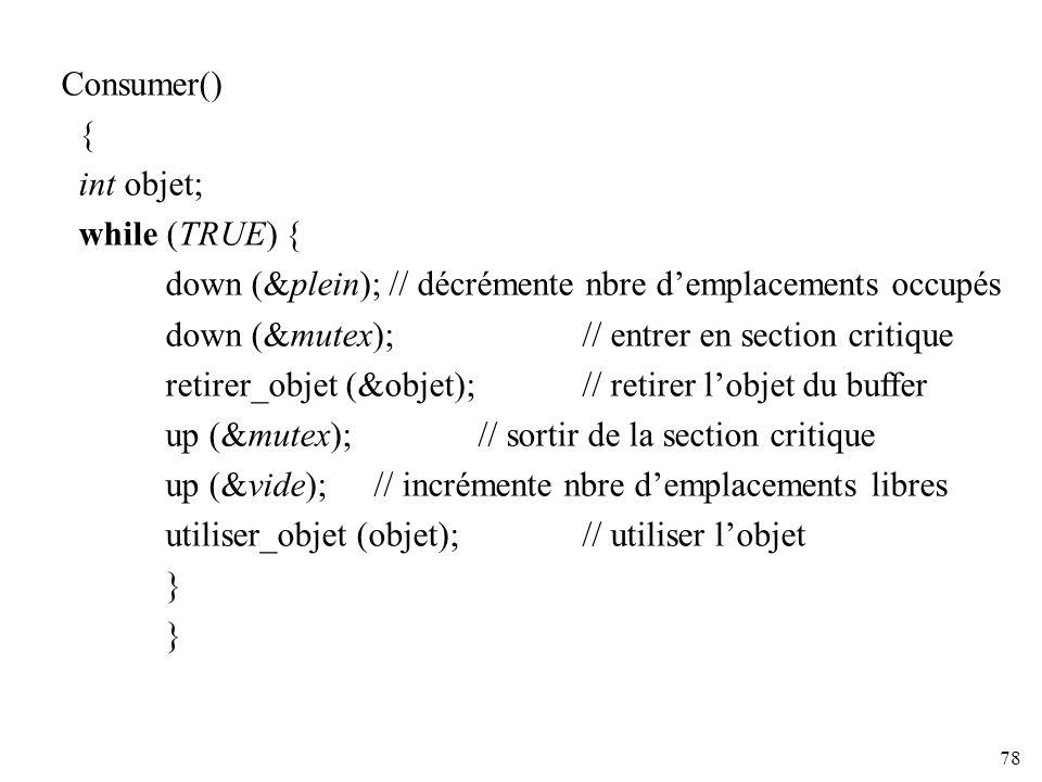 78 Consumer() { int objet; while (TRUE) { down (&plein); // décrémente nbre demplacements occupés down (&mutex); // entrer en section critique retirer
