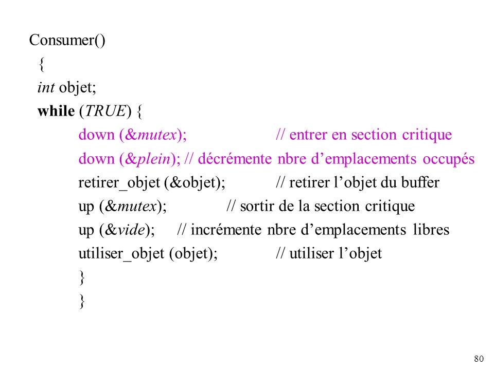 80 Consumer() { int objet; while (TRUE) { down (&mutex); // entrer en section critique down (&plein); // décrémente nbre demplacements occupés retirer