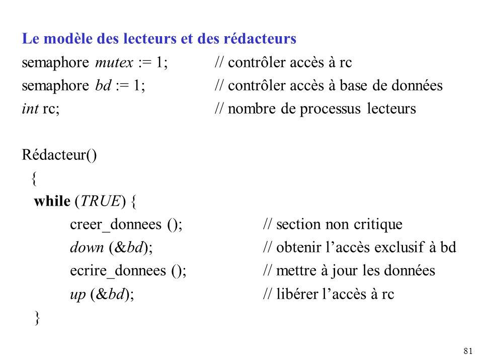 81 Le modèle des lecteurs et des rédacteurs semaphore mutex := 1; // contrôler accès à rc semaphore bd := 1; // contrôler accès à base de données int