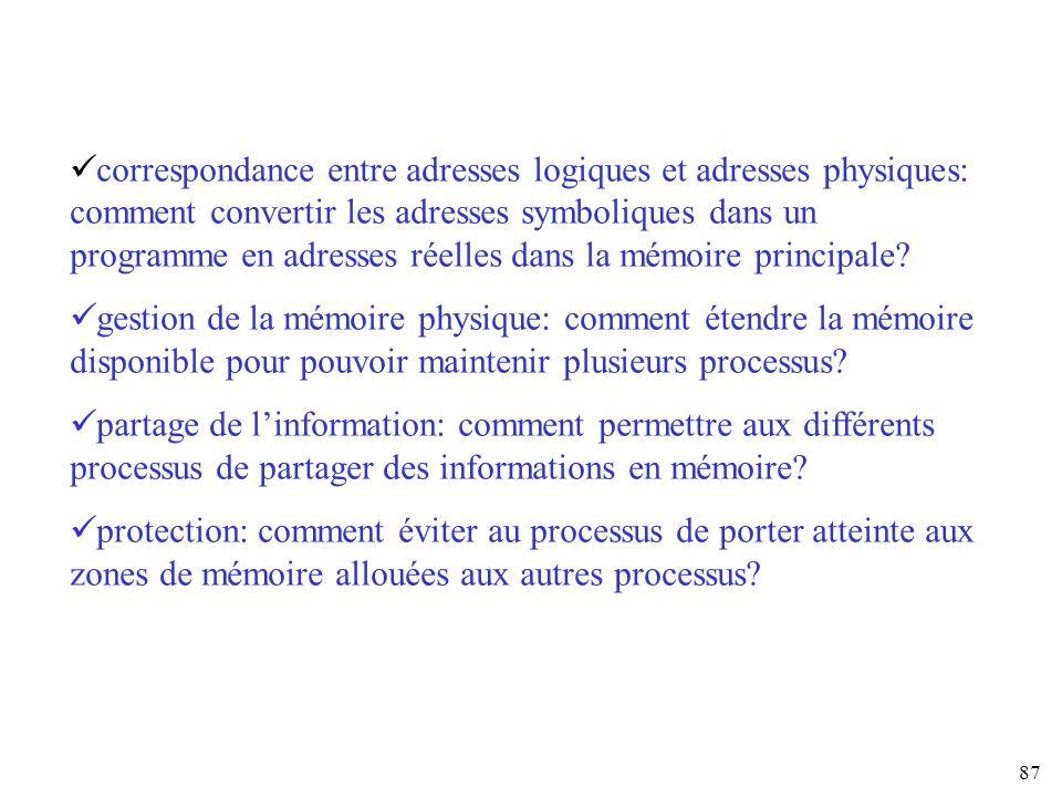 87 correspondance entre adresses logiques et adresses physiques: comment convertir les adresses symboliques dans un programme en adresses réelles dans