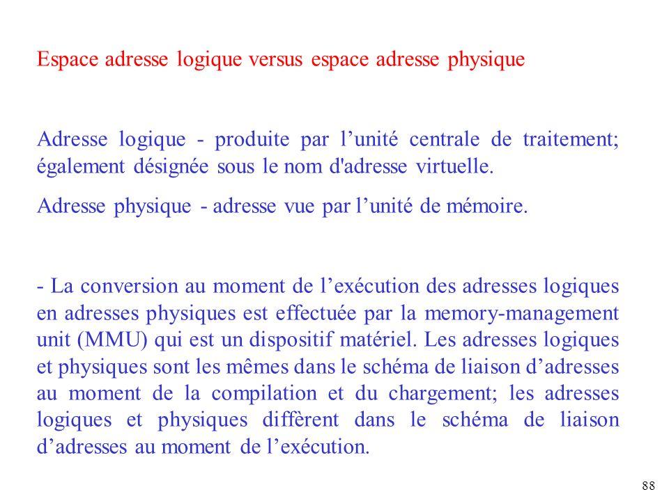 88 Espace adresse logique versus espace adresse physique Adresse logique - produite par lunité centrale de traitement; également désignée sous le nom