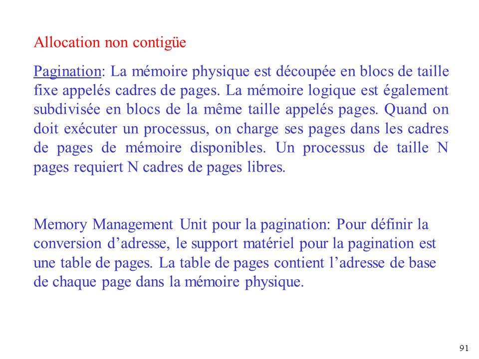 91 Allocation non contigüe Pagination: La mémoire physique est découpée en blocs de taille fixe appelés cadres de pages. La mémoire logique est égalem