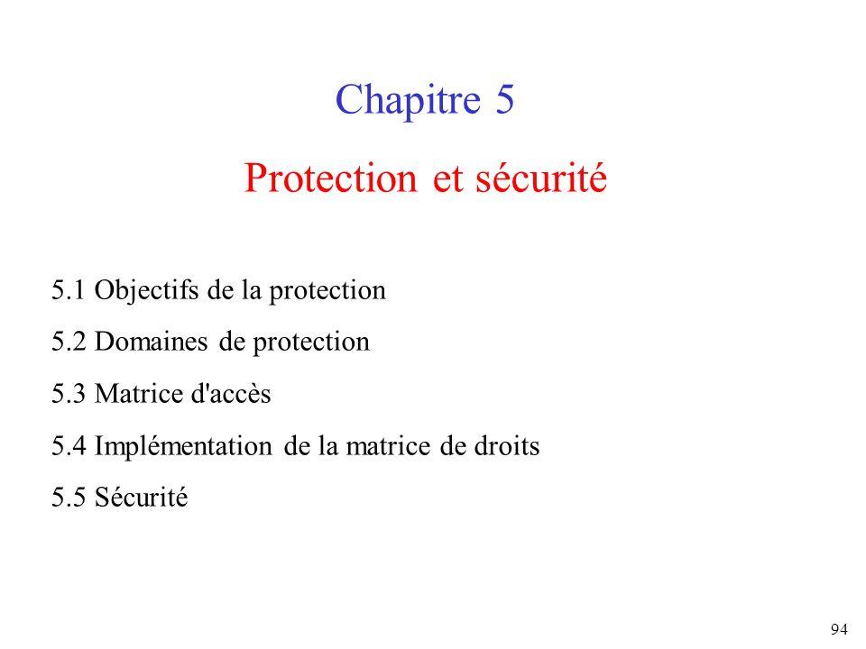 94 Chapitre 5 Protection et sécurité 5.1 Objectifs de la protection 5.2 Domaines de protection 5.3 Matrice d'accès 5.4 Implémentation de la matrice de