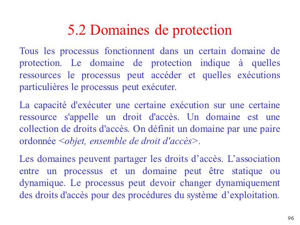 96 5.2 Domaines de protection Tous les processus fonctionnent dans un certain domaine de protection. Le domaine de protection indique à quelles ressou