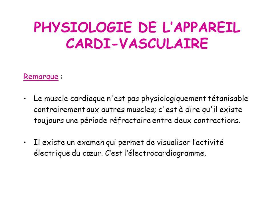 Remarque : Le muscle cardiaque n est pas physiologiquement tétanisable contrairement aux autres muscles; c est à dire qu il existe toujours une période réfractaire entre deux contractions.