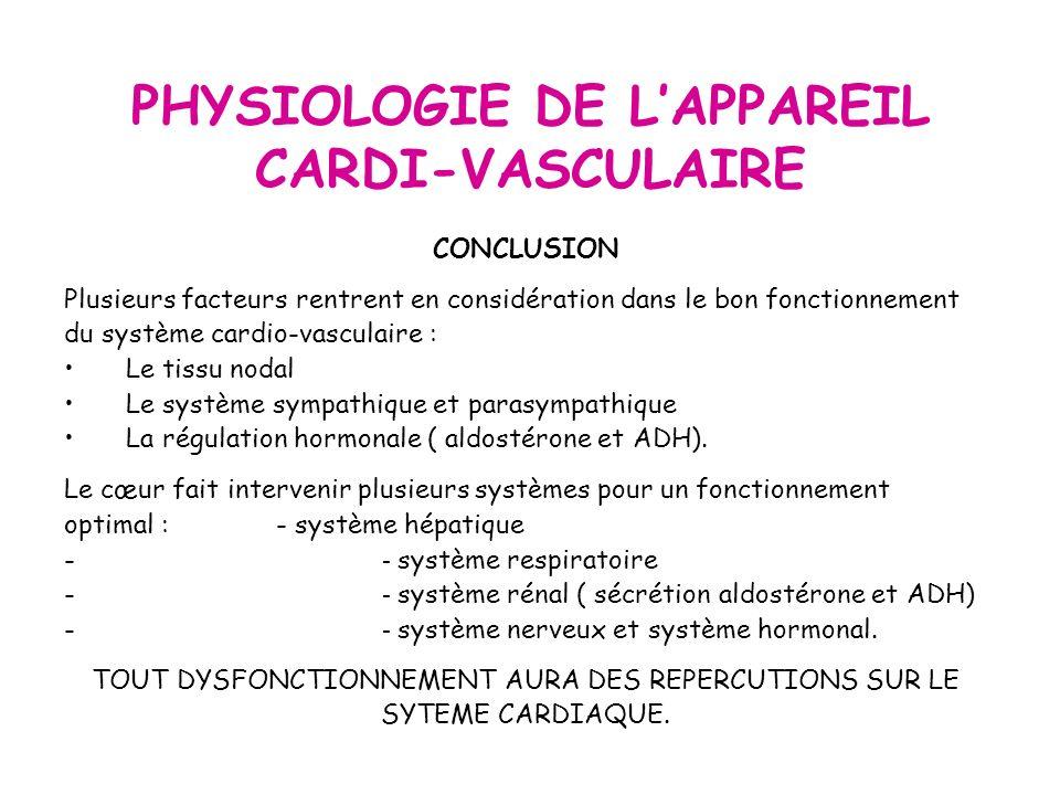PHYSIOLOGIE DE LAPPAREIL CARDI-VASCULAIRE CONCLUSION Plusieurs facteurs rentrent en considération dans le bon fonctionnement du système cardio-vasculaire : Le tissu nodal Le système sympathique et parasympathique La régulation hormonale ( aldostérone et ADH).