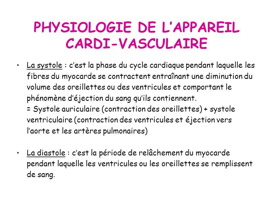 PHYSIOLOGIE DE LAPPAREIL CARDI-VASCULAIRE La systole : cest la phase du cycle cardiaque pendant laquelle les fibres du myocarde se contractent entraînant une diminution du volume des oreillettes ou des ventricules et comportant le phénomène déjection du sang quils contiennent.