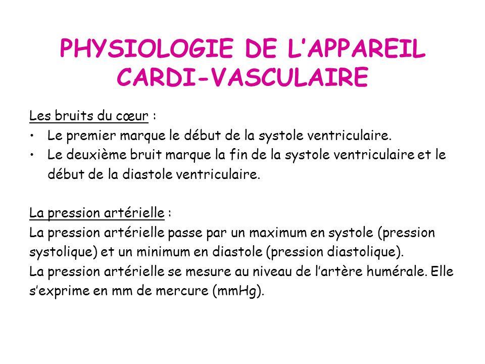 PHYSIOLOGIE DE LAPPAREIL CARDI-VASCULAIRE Les bruits du cœur : Le premier marque le début de la systole ventriculaire.