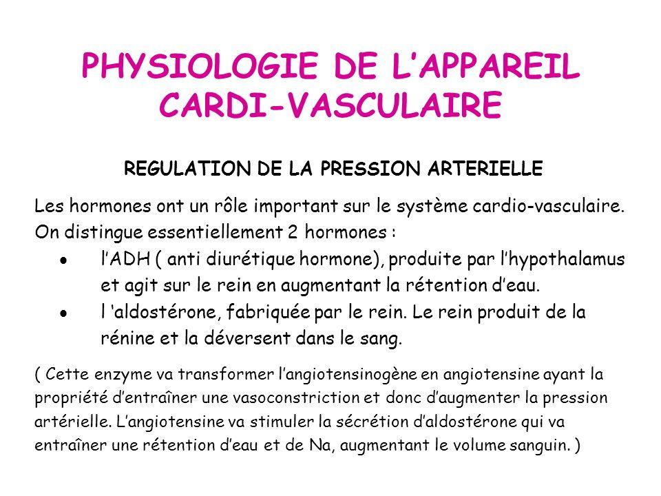 PHYSIOLOGIE DE LAPPAREIL CARDI-VASCULAIRE REGULATION DE LA PRESSION ARTERIELLE Les hormones ont un rôle important sur le système cardio-vasculaire.
