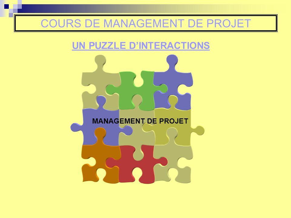 COURS DE MANAGEMENT DE PROJET MANAGEMENT DE PROJET UN PUZZLE DINTERACTIONS