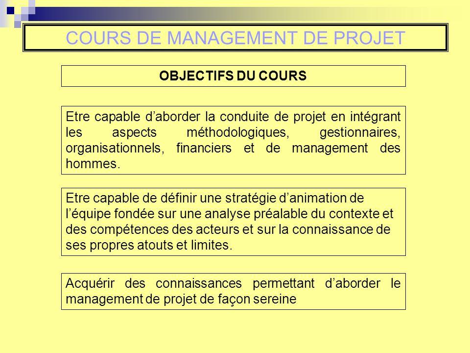 OBJECTIFS DU COURS Etre capable daborder la conduite de projet en intégrant les aspects méthodologiques, gestionnaires, organisationnels, financiers et de management des hommes.