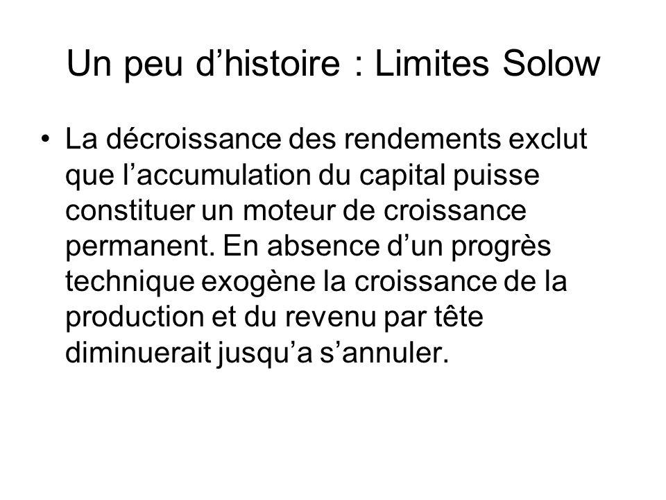 Un peu dhistoire : Limites Solow La décroissance des rendements exclut que laccumulation du capital puisse constituer un moteur de croissance permanen