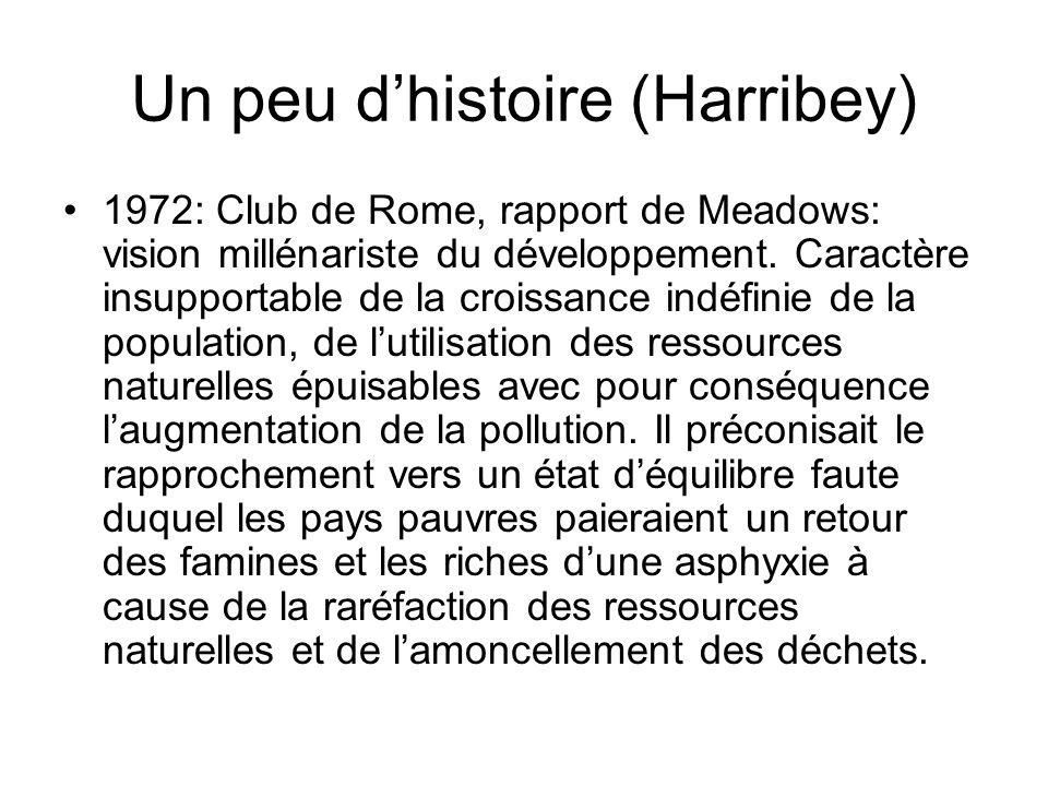Un peu dhistoire (Harribey) 1972: Club de Rome, rapport de Meadows: vision millénariste du développement. Caractère insupportable de la croissance ind