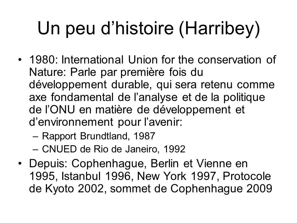 Un peu dhistoire (Harribey) 1980: International Union for the conservation of Nature: Parle par première fois du développement durable, qui sera reten