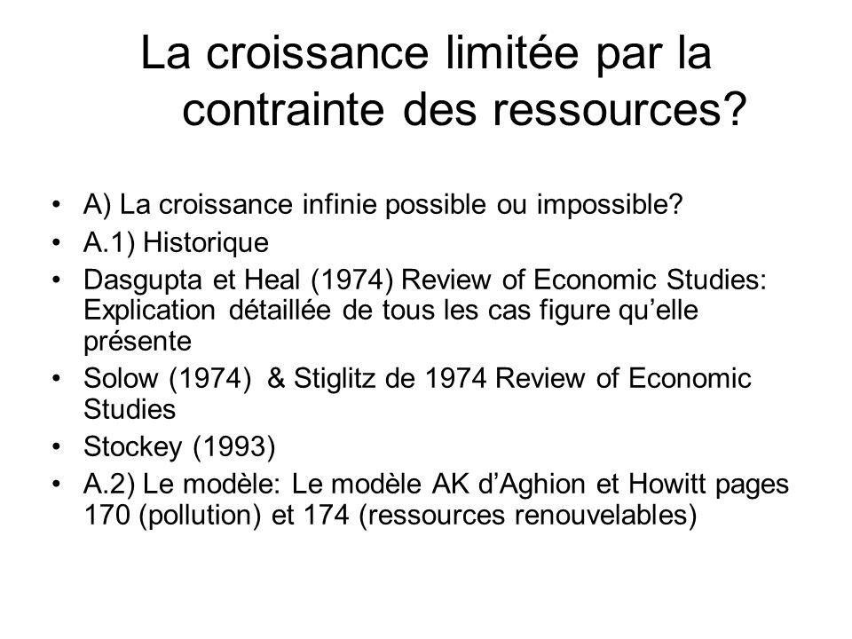 La croissance limitée par la contrainte des ressources? A) La croissance infinie possible ou impossible? A.1) Historique Dasgupta et Heal (1974) Revie