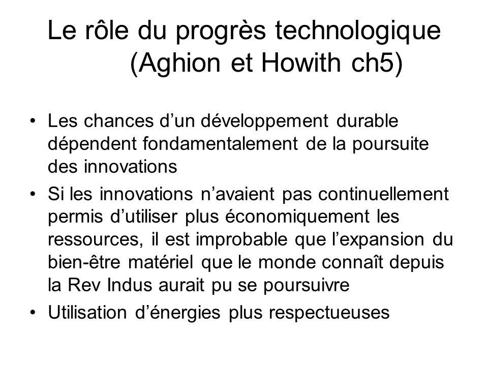 Le rôle du progrès technologique (Aghion et Howith ch5) Les chances dun développement durable dépendent fondamentalement de la poursuite des innovatio